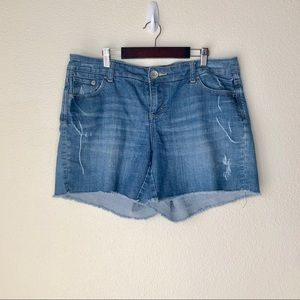Torrid Jean shorts. Distressed with raw frayed hem